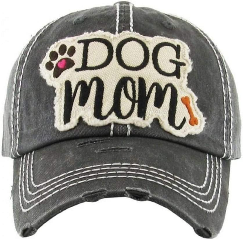 """JUS LABS Embroidered Vintage Distressed /""""Dog Mom/"""" Hat Best Outdoor Apparel Sun Hats for Women Perfect Ballcap"""