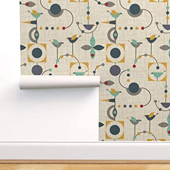 Mid Century Modern Retro Peel-and-Stick Removable Wallpaper 1950/'s Vintage,
