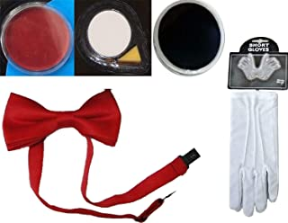 Mens White Gloves Face Paint Sets Adults Clown Red Bow Tie Fancy Party Accessory One Size