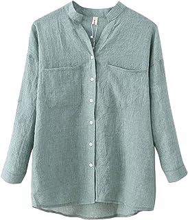 Lentta Women's Long Roll Up Sleeves Button Down V Neck Thin Summer Linen Shirts