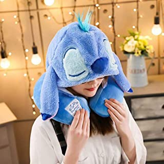 ZSJZSJ U Shaped Neck Pillow with Cute Cartoon Animal 2 in 1 Cap Cozy Travel Cushion Head Stress Relief Airplane Home Car Seat Office Gifts,Stitch