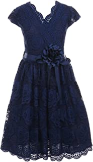 Little Girl Cap Sleeve Lace Floral Holiday Party Summer Flower Girl Dress USA