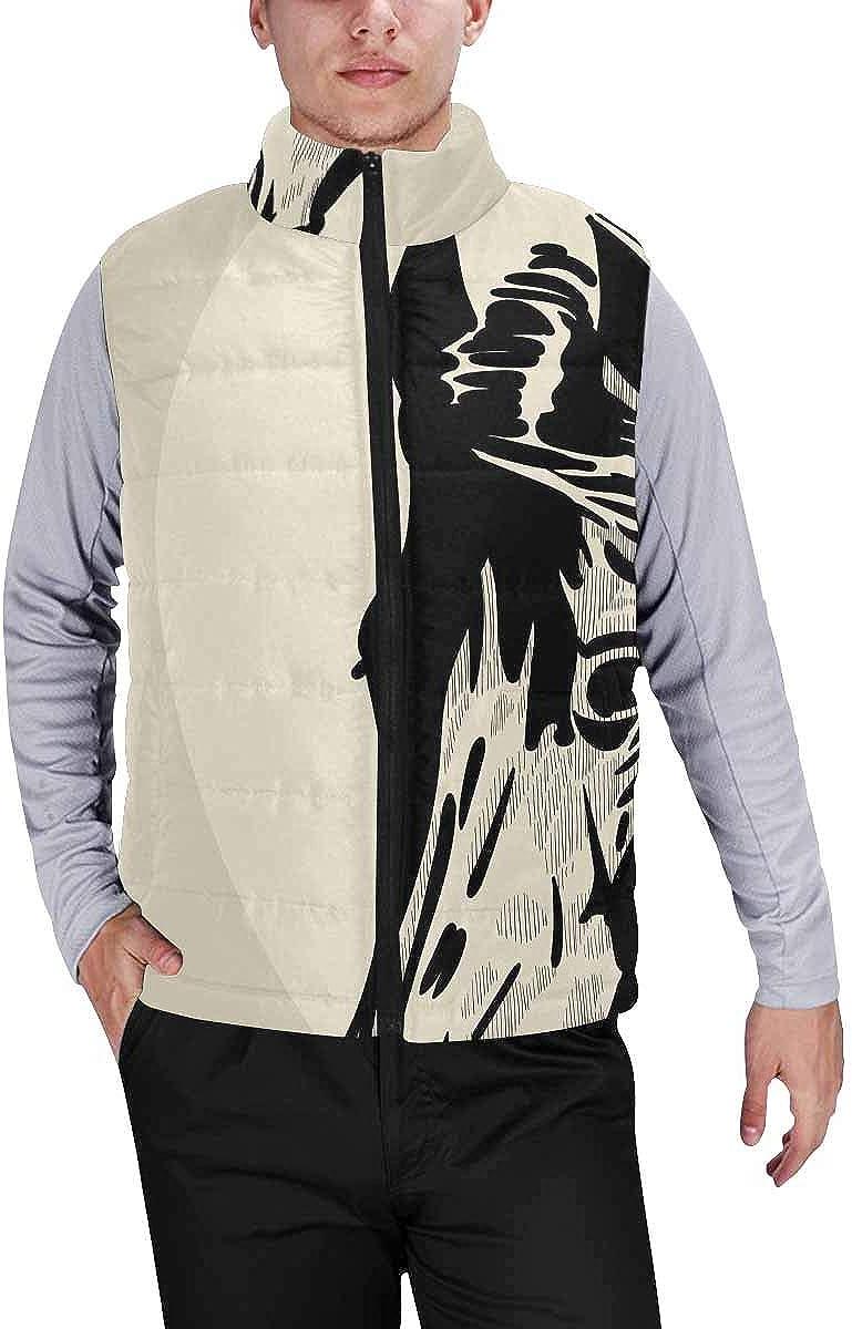 InterestPrint Men's Lightweight Keep Warm Puffer Vest for Outdoor Hello Sunshine Lettering