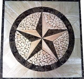 Marble Mosaic Floor Tile Medallion Texas Star Design 30