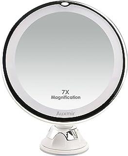Auxmir Espejo Maquillaje con Luz LED 7X de Aumento Espejo Cosmético Luminoso con Ventosa Fuerte, Espejo de Mesa y para Pared, 360° de Rotación, Blanco
