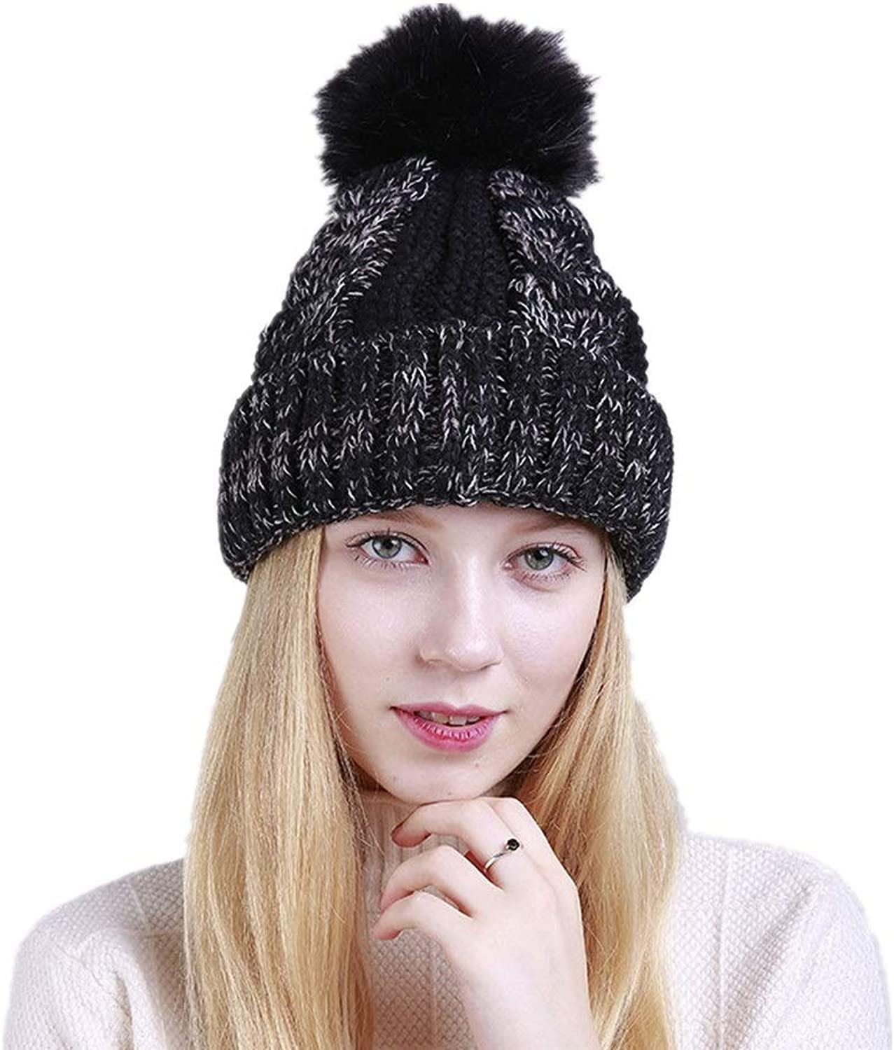 Big Hairball Womens Winter Knitting Wool Warm Hat Daily Slouchy Hats (color   Black)