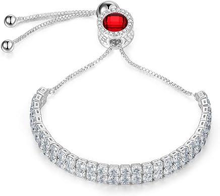 J.Fée Birthstone Ajustable Argent Plaqué Femmes Bracelet Bracelet 5A Cubique Cristaux De Zircon Bijoux pour Petite Amie Maman Femme - Une Boîte Cadeau De
