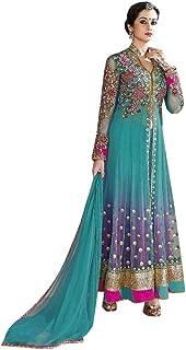 Ready to Wear Flairy SkyBlue and Pink Full Sleeve Muslim Bollywood Net Anarakali Suit Salwar Kameez Suit Stock