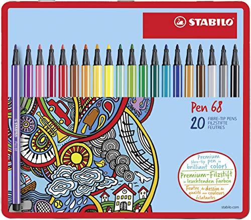 Premium-Filzstift - STABILO Pen 68 - 20er Metalletui - mit 20 verschiedenen Farben