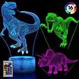 Balhvit 3D Dinosaur Night Light for Kids, Best Christmas Holiday Gift for Boys and Girls, 16 Colors & 3 Pattern Change Dinosaur Light, 3D LED Illusion Lamp with Remote Control for Children' s Bedroom