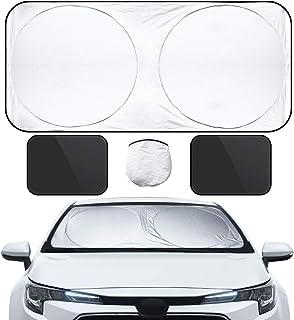 VARNIC 車用サンシェード 遮光 遮熱 カーシェード 紫外線対策 UVカット フロントガラス用 自動折畳 プライバシーを保護する 収納バッグ付き 前1枚&左右2枚(3枚入れ)