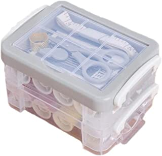 TONGZEN Double-Layer Sewing Box Set Sewing Kit Hand Sewing Needle Storage Box Sewing Repair Tools Tiered Storage,Gray
