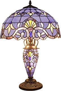 Stained Glass Lamp Blue Purple Baroque Tiffany Style Table Lamps 3 Light W16H22 Inch Lavender Lampshade Antique Base for Living Room Bedroom Bedside Desk Lamp S003C WERFACTORY