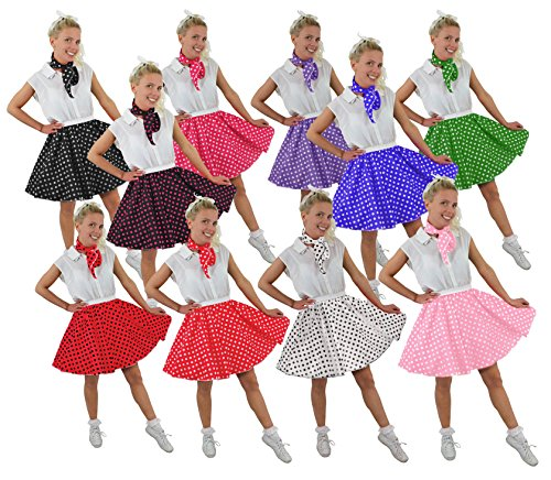 I LOVE FANCY DRESS LTD Polka DOT Rock n ROLL Rock -10 Farben+2 GRÖßEN+2 LÄNGEN=Tanz Fasching Karneval VEREINE Gruppen =ROT MIT SCHWARZEN Punkten-Plus Size/KURZ