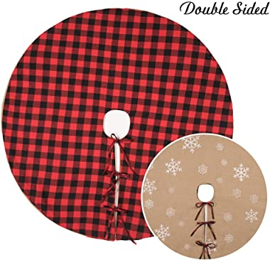 MACTING Double-Sided Red Black Buffalo and Burlap White Snowflake Printed Tree Skirt Double Layer Sides for Christmas Decoration New Year Party Holiday Decorations