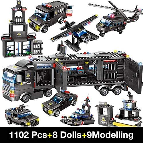 FEF Building Blocks Robot City Police Juguetes para niños Bloques de Camiones educativos Armas compatibles Diseñador de vehículos Aviones