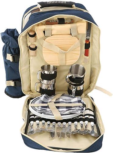 Sac à dos pique-nique pour 4 personnes Ensemble pique-nique avec compartiment isolé et couverture, couverts multifonctions, sac à dos de camping pour l'extérieur (lot de 24) ( Couleur   - , Taille   - )