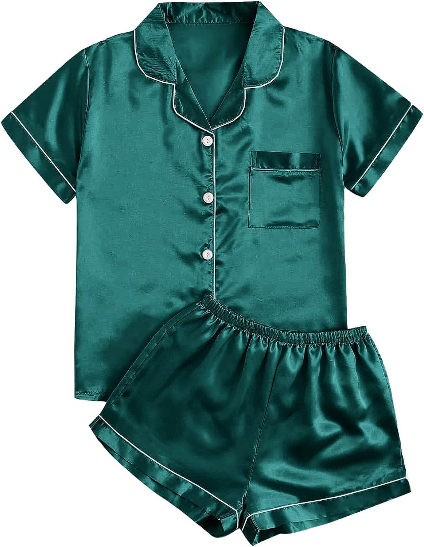 WDIRARA Women's Plus Sleepwear Satin Short Sleeve Shirt and Shorts Pajama Set