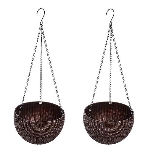 cestas de plantador colgantes, maceta colgante con drenaje auto riego interior exterior maceta de jardín
