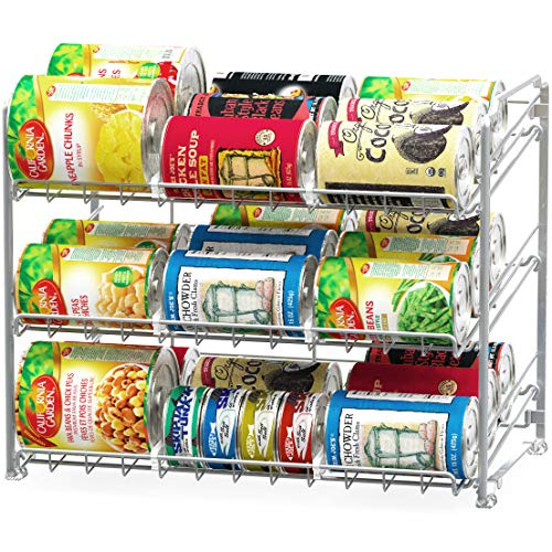 SimpleHouseware Stackable Can Rack Organizer, Silver