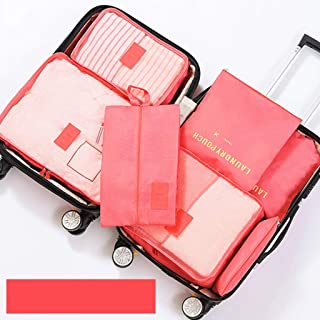 Packing Cubes Large Capacity Household Clothes Storage Bag 7 Pcs Travel Luggage Organizers with Waterproof Shoe Storage Bag 11 Colors QDDSP (Color : E)