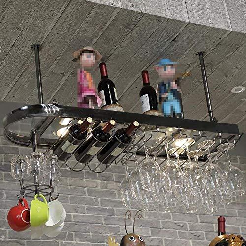 NBVCX Decoración de Muebles Estante para vinos Mesa de Barra de Acero Inoxidable Soporte para Copas de Vino Colgante para Copas de Vino Tinto Soporte al revés Gabinetes para Vino (Color: Dorado)