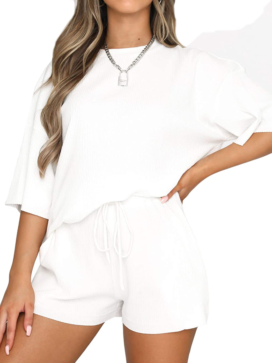 Women's 2 Piece Knit Outfits Oversized Short Sleeve T-Shirts Shorts Set Sportswear with 2 Pockets