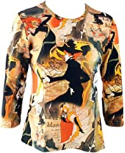 Breeke & Company, Hand Silk-Screened Cotton Poly Top - Toulouse Lautrec