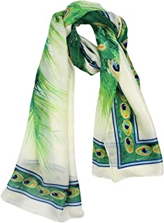 C.C-US Women Silk Scarf Long Large Peacock Feather Prints Wrap Shawl Scarves Headscarf