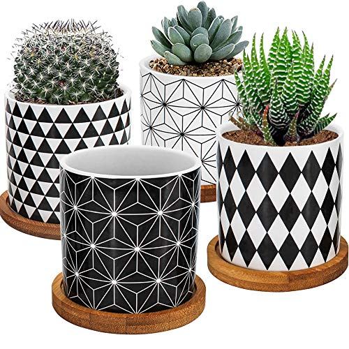 Gifts for Women, 4 Pack Succulent Plant Pots, 2.8 Inch Mini Ceramic pots Geometric Pattern for Cactus Herb Flower Planter with Bamboo Tray, for New Year Garden, Home, Office Decor