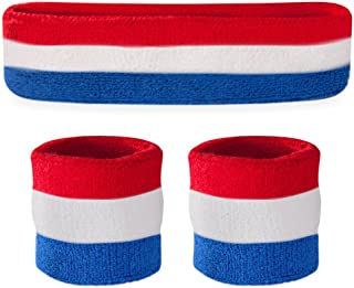 Best Striped Sweatband Set - (1 Headband and 2 Wristbands) Cotton for Sports & More. Review