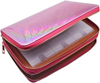 216 Slots Nail Stamping Plate Case Holographic Nail Art Image Holder Rainbow Laser Design Round Square Rectangular Nail Art Plate Organizer (Pink)