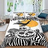 Erosebridal Boys Halloween Theme Bedding Set Jack O' Lantern Duvet Cover Twin Size for Kids Teens Skull Skeleton Bones Comforter Cover Zebra Stripes Quilt Cover, with 1 Pillow Case, Black White
