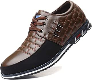 COSIDRAM Men Casual Shoes Sneakers Loafers Breathable Comfort Walking Shoes Fashion Driving Shoes Luxury Leather Shoes for Male Business Work Office Outdoor Brown Size 10.5