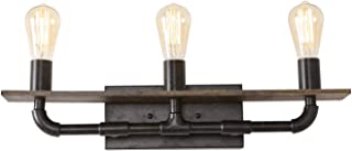 Anmytek Linear Wall Light Rustic Wall Lamp Metal Wood Retro Vintage Industrial Wall Sconce Light Fixture for Vanity Living Bathroom Kitchen Studying Room 3 Lights (W0068)