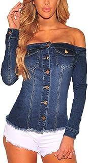 F_topbu Women Shirts Teen Girls Off Shoulder Denim Button Up Short Sleeve Blouse Casual Pullover Tops