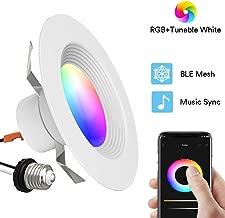 iLintek Smart Recessed Lighting - 5/6 Inch Smart LED Downlight Bluetooth Ceiling Light Tunable White+RGB Music Sync Timing Function 13W(80W Equiv) 1100lm No Hub Required (5/6 inch BLE Mesh Downlight)