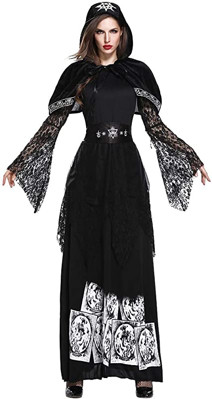 Onegirl Women Halloween Cosplay Costume Princess Hooded Dress Witch Vintage Style Lace Long Sleeve Dress