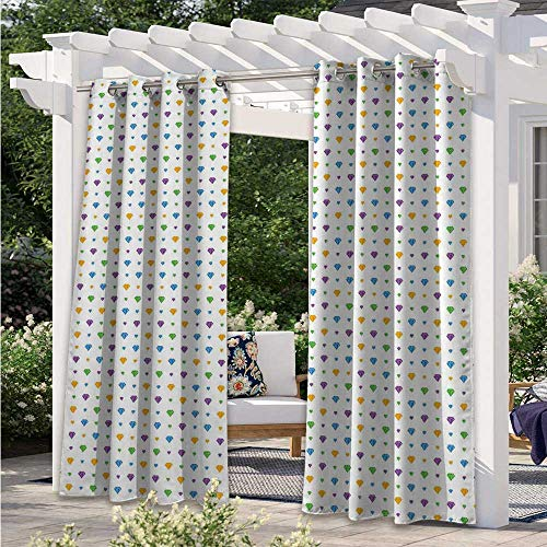 Adorise Patio Curtain Crystal Stones of Many Shapes Colorful Digitally Composed Illustration Traditional Waterproof Indoor/Outdoor Curtains for Proper Look and Fullness Multicolor W108 x L84 Inch