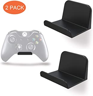 REEYEAR Game Controller Holder Self Adhesive Tape Stick on Wall Mount for Universal PS4 Xbox One Steam/Nintendo Switch/PC Video Game Controller Headphone Stand Hanger Headset Holder 2 Pack Black