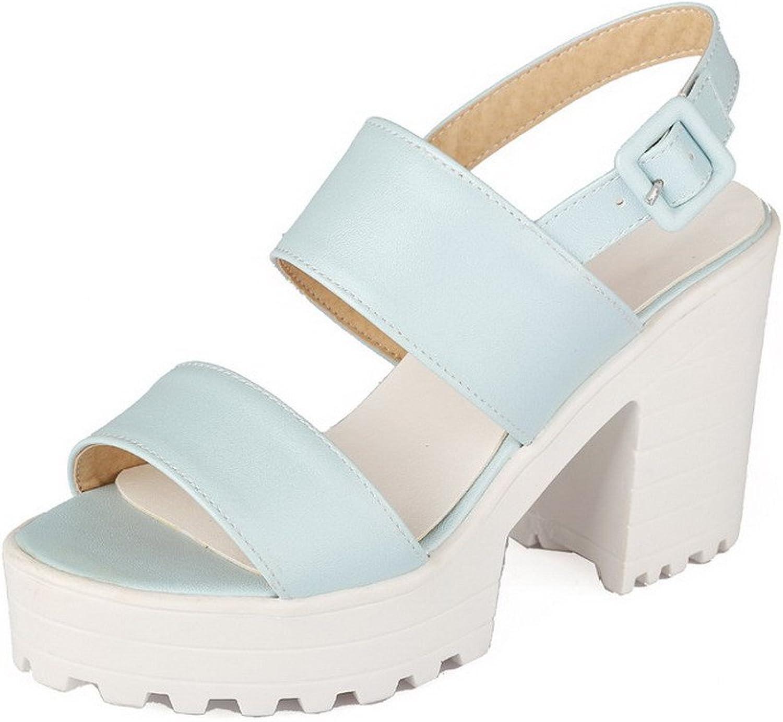 WeiPoot Women's PU Solid Buckle Open Toe High-Heels Platforms-Sandals