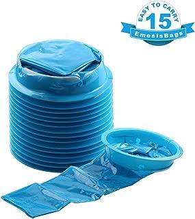 Barf Bags, YGDZ 15 Pack Vomit Bags for Car, Blue Emesis Bags, Aircraft & Car Sickness Bag, Disposal Puke Bags Nausea Bags for Travel Motion, 1000ml