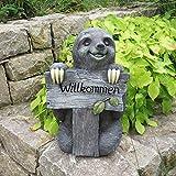 Unibest Deko Faultier mit Willkommen-Schild Stein-Optik Gartenfigur Magnesium-Oxid Dekoobjekt Skulptur