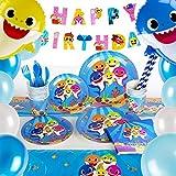 Shark Party Supplies Set, 182 Pcs Baby Shark Birthday Party Supplies, Shark Themed Birthday Party Decorations...