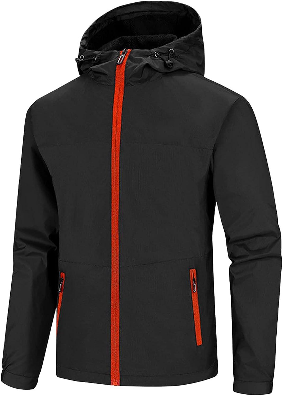 Mens Hoodie Windbreaker Zip Up Waterproof Thin Raincoat Outdoor Plus Size Trench Coat Jacket Blouse with Pockets