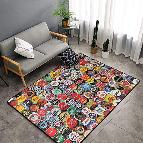 NiYoung Area Rug, Doormat Floor Mat Nursery Rugs, Children Play Rug Carpet Bath Mat, World Beer Bottle Caps Set Throw Rugs Runner Exercise Mat, Indoor Outdoor Entryway Rug