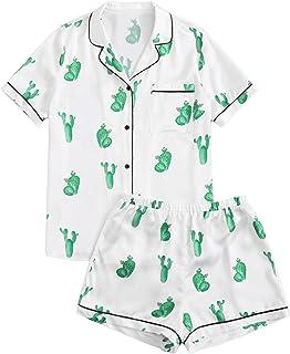 SweatyRocks - Conjunto de pijama de satén para mujer