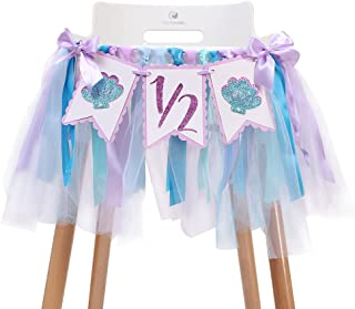 WAHAWU Mermaid Tutu High Chair Banner - 1/2 Birthday Gifts for Baby Girl , Glitter Purple Shell Birthday Party Decorations...