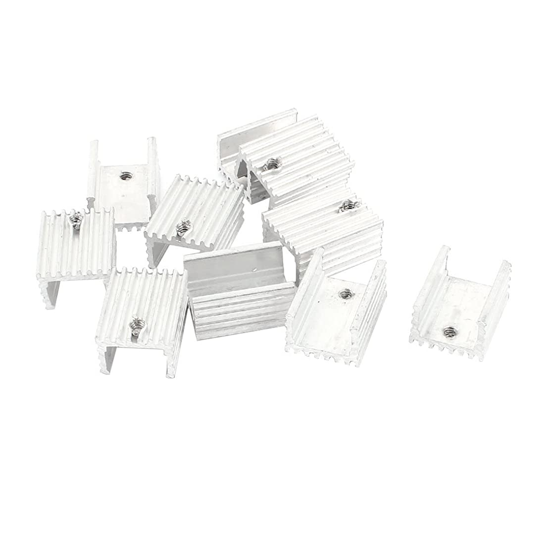 uxcell 10 x Silver Tone Aluminum Heat Sink 20x15x10mm for TO-220 Transistors