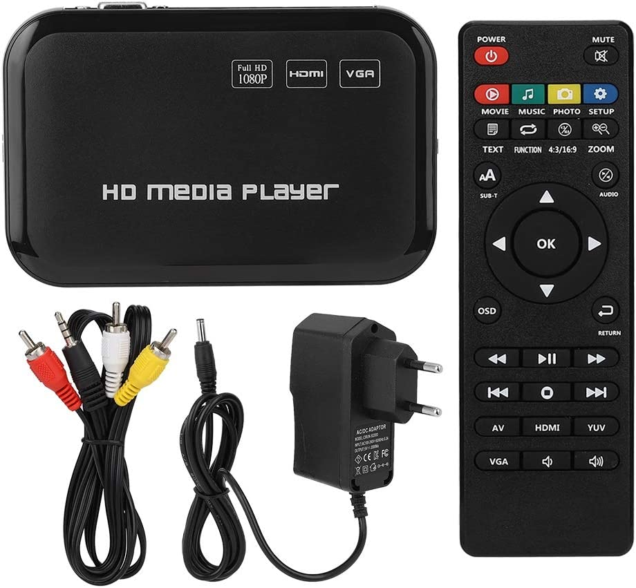 Diyeeni Mini Full HD 1080P Multi Media Player HDMI/AV Output, HD o Video Player with Remote Control and AV Cable, Supports MMC/SD/MS/SDHC(US)